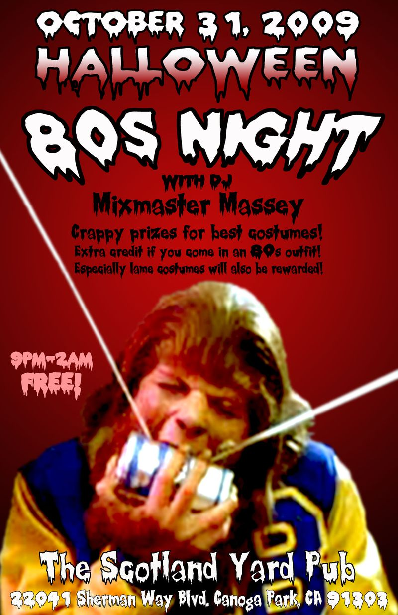 80s night October 2009 poster small